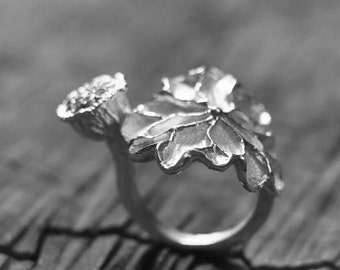 Big Lotus Flower Sliver Adjustable Nature Ring Water Lily 925 Sterling Sliver Open Ring Nature Flower Ring Handmade Women Jewelry FHRP003