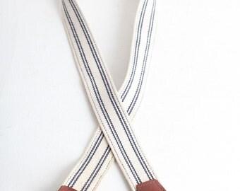 Vintage Men's Striped Belt, Women's White Belt, J Crew Belt