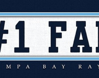 Tampa Bay Rays-Free Shipping-#1 DAD or #1 FAN Jersey Stitch Framed Print-MLB