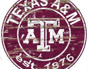 """NCAA Texas A & M Round Distressed Established Wood Sign 24"""" Diameter"""