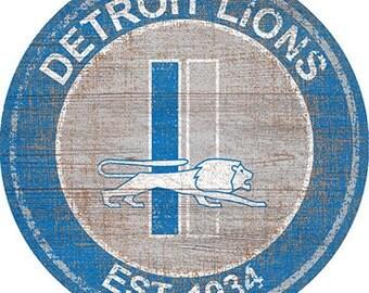 "NFL Detroit Lions Round Distressed THROWBACK Established Wood Sign 24"" In Diameter"