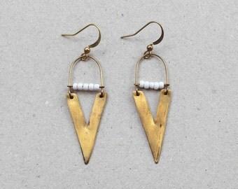 Wild Treasure / Beaded Triangle Arrow Bohemian Geometry Brass Earrings/ Clip-on/ 316L Stainless Steel Earrings