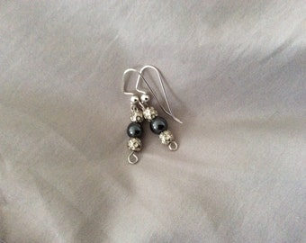 Hand made Black and Silver balls Earrings-11