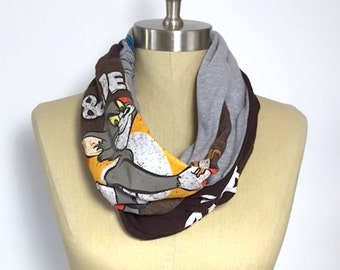 Tom and Jerry T shirt Infinity Scarf, Bugs Bunny , Gray and Brown Infinity Cotton Scarf, Repurposed  Scarf, Ahimsa Scarf, Life is Good Scarf