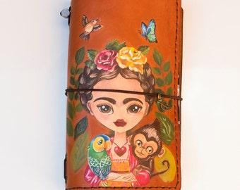 Frida Kahlo Notebook - Frida Kahlo Portrait - Travel Diary - Leather Sketchbook - Frida Kahlo Art - Travelers Notebook - Handpainted Gift