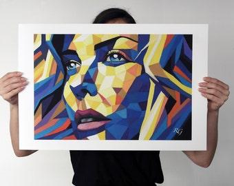 Woman portrait art print 60 cm x 40 cm fine art art print