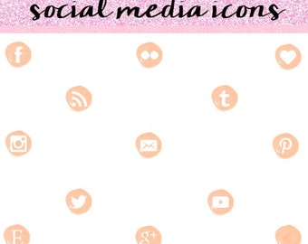 Peach Social Media Icons, Social Media Icons, Social Media Icons Set, Modern Social Media Icons.