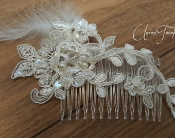 Lace hair, Bridal Lace Hair Comb, Wedding Headpiece, Bridal Lace Ivory Beaded Comb, Lace hair, Wedding Hair, Bridal Hair, Hair, Accessories