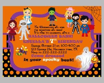 HALLOWEEN Invitation Kids, PRINTABLE Halloween Birthday Invitation, Costume Party Invitation, Halloween Party Invite 1st Birthday Girl Boy