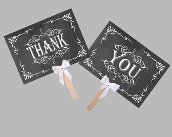 Instant Download, Thank You Wedding,Party,Engagement Paddles, Save the Date Paddles, Chalkboard , Photo Props Signs