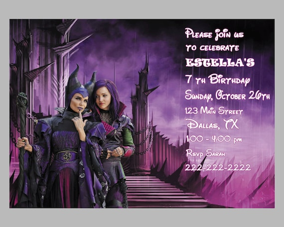 Disney Descendants Invitation Disney Descendants Birthday