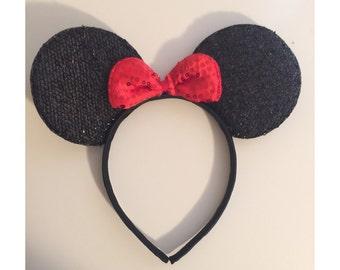 1pc, Minnie Mouse Sparkle Ears, Mickey Mouse Sparkle Ears, Mickey Mouse Party Favors, Mickey Minnie Party Ears