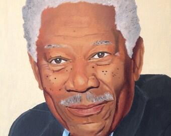 American celebrity actor portrait painting Morgan Freeman