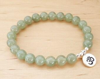 Green Aventurine Bracelet Natural Aventurine Healing Stones for women Bracelet Gemstone Bracelet Green Bracelet for women Om Bracelet