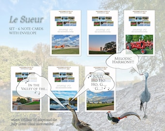 Le Sueur, Minnesota Note Cards, Note Card Set with Cream Colored Envelope, Six Note Cards, Minnesota River Valley