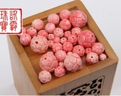 20pcs/set pink shell carved lotus flower beatiful bead 6mm-16mm