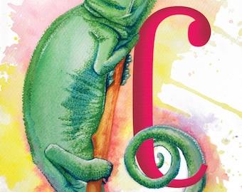 Alpha Card 'C' -  Hand painted alphabet greeting card (blank inside)