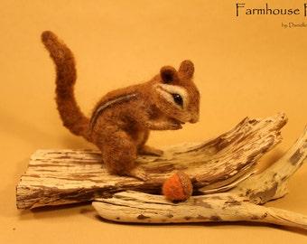 Needle Felted Chipmunk - Needle Felted Animal - Made To Order