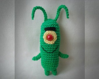 Crochet Plankton from Sponge Bob Squarepants Amigurumi Plankton Crochet Toy evil unlucky genius green monster plankton plushie MADE TO ORDER