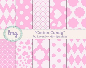 Pink Digital Papers - Cotton Candy - Scrapbook Papers, Polka Dots, Chevrons, Heart Pattern, Paper Pack, Instant Download, Commercial Use