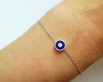 Silver Evil Eye Bracelet, Nazar Jewelry, Silver Nazar Bracelet, Small Amulet Bracelet, Turkey Silver Talisman /  B426a