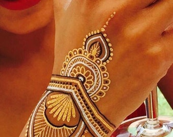 HennaBK Metallic Henna inspired temporary flash tattoos