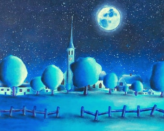 Landscape painting - naive painting - hand painted landscape - moonlight landscape - trees and village