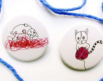 Kitties in Yarn Heaven  - Pin Back Badge - Fridge Magnet - Cat Lovers - Knitters