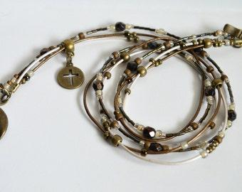 Wrap Bracelet, Leather Wrap Bracelet, Beaded Leather Wrap, Multi strand bracelet, Boho Bracelet Wrap, Beaded Boho Leather Wrap Bracelet