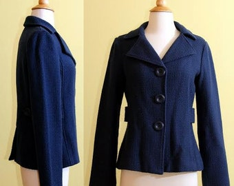 BP Brass Plum Royal Blue Wool Coat, size 4
