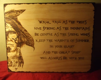 Pyrography tattoo art native american with quote
