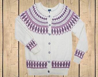 Vintage Dale of Norway Cardigan Wool Fairisle Pattern Norwegian Cream Mauve UK M