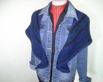 Hand Knit Stylish Shawl Scarf Cowl Wrap shades of blue *Ready to Ship*