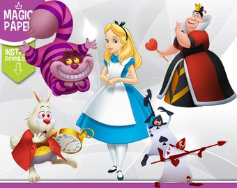 Alice in Wonderland Clipart - Digital 300 DPI PNG Images, Photos, Scrapbook, Digital, Cliparts - Instant Download