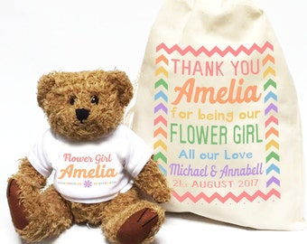 Personalised wedding favour gift | Flower Girl teddy bear + cotton bag | Custom thank you bridesmaid gift.