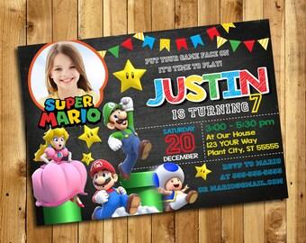 Super Mario Invitation - Super Mario Birthday Party Invitation - Super Mario Printables - Super Mario Birthday - AMR_4