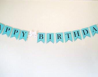 Happy Birthday Banner |  Birthday Banner | Blue Theme Banner | Teal Birthday Banner | Robin's Egg Blue Banner