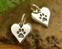 925 Sterling Silver Tiny Dog Paw Print Animal Lover Heart Charm Pendant or Necklace Jewelry Jewellery