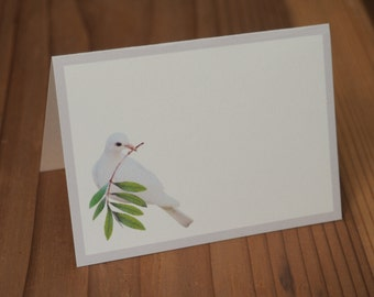Dove with Olive Branch Printable Place Cards, Printable Gift Tags