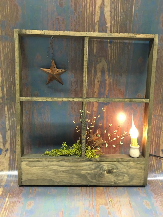 Rustic Lighted Window Frame