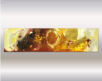 acrylic painting, abstract painting, wall art, Ettis canvas art, stretched canvas, brown gold painting, 12 x 48, large painting, on canvas