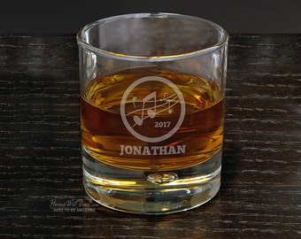 Music Notes Personalized Rocks Glass - Musical Gifts for Whiskey Lovers