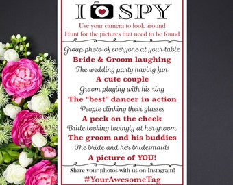 I Spy Wedding Game CUSTOM PRINTABLE with your hashtag & colors, photo treasure hunt personalized, Wedding Reception Game, Reception Table