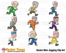 Senior Men Jogging Clip Art, Digital Clipart, Digital Graphics