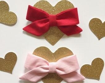 "Valentines ""Zoe"" lovie dovie set// headband or clip"
