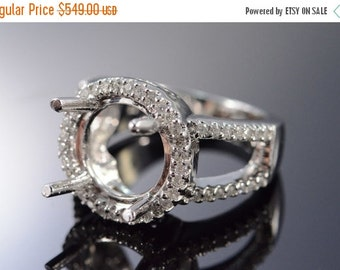 ON SALE 14K 0.50 Ctw Diamond 12x12mm Semi Mount Ring Size 6.75 White Gold