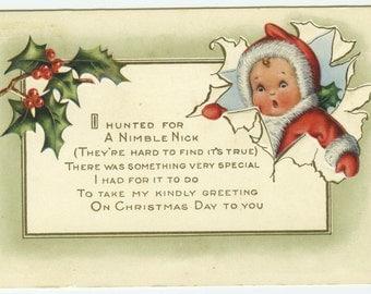 Whitney Christmas Greeting Nimble Nick Poem Embossed Postcard