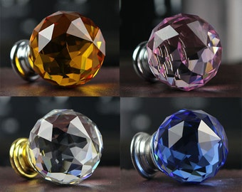 Rhinestone Glass Dresser Knobs Crystal Drawer Knob Pulls / Pink Yellow Blue Clear Sparkly Kitchen Cabinet Handles Knob Colorful Decor Bling