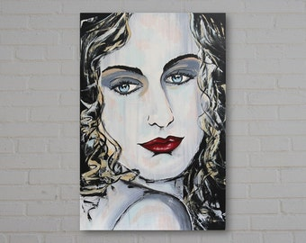 """Female Original Acrylic Portrait Painting, """"Blue Portrait #2"""", Pop Art, 20 x 30 inches, Modern, Abstract Painting, Contemporary, Wall Art,"""