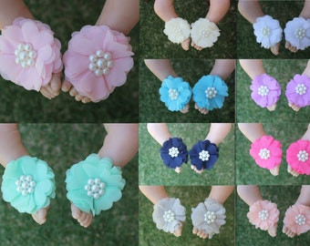 Baby Barefoot Sandals Handmade Girl Flower Shoes Footwear Newborn Christening Photo Prop